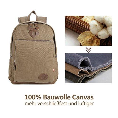 Universal 20L 100%Bauwolle Canvas Schultasche Umhaengetasche Messenger Bag Kahki kaffee