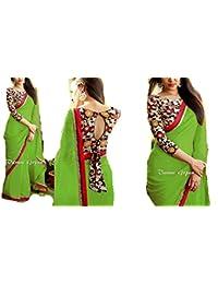 Bollywood Indian Party Wear Georgette Saree Traditional Collection Sari,Function, Karneval, Birthday Dress, Geburtstag, Indische Kleid,Hippie Kleid -Green