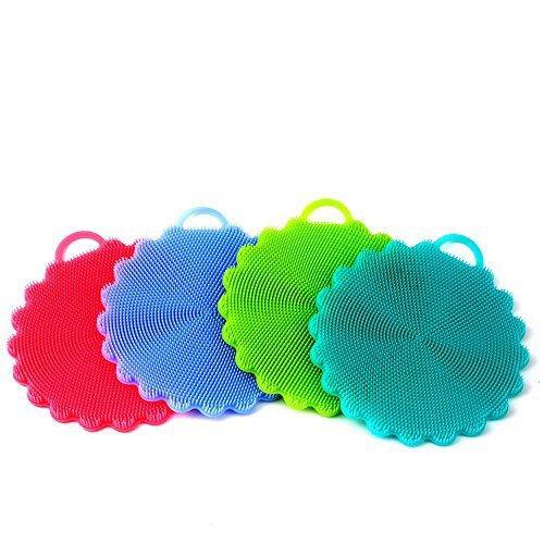 AIEX Silikon Schwamm, Antibakteriell Silikon Schwämme Magischer Schwamm Reinigung Bürste schwämme küche(4er Mix Farbe) Hot Hand Jar Opener