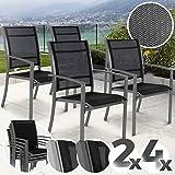 Gartenstuhl mit Armlehnen Set | stapelbar, mit stabiler Stahlrahmen, 2x1...