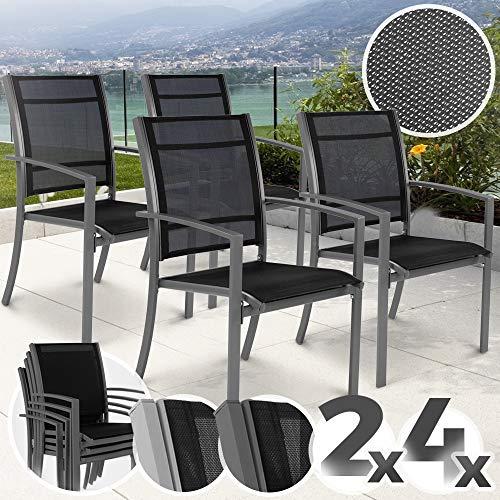 Gartenstuhl mit Armlehnen Set | stapelbar, mit stabiler Stahlrahmen, 2x1 Kunststoffgewebe, Farbwahl,...