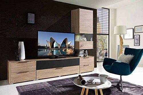 4-tlg Wohnwand in Eiche-Nachbildung/grau mit Akustik-Fächern und LED-Beleuchtung, Gesamtmaß B/T ca. 264/51 cm