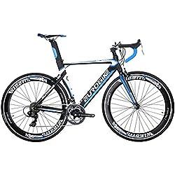 Eurobike XC7000 - Bicicleta de carretera con marco de aluminio ligero de 50 cm y 54 cm, 14 velocidades, 700 C, para carreras, color azul, tamaño 50 cm, tamaño de cuadro 50.00, tamaño de rueda 29.00