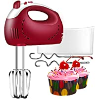 Hand Mixer for Baking, Electric Whisk with 200W 5 Speed and Turbo, Food Mixer, Hand Mixer Electric Red