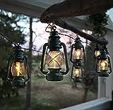 Kamaca Öl Laternen Party Beleuchtung WARM Weisse Outdoor - Lichterkette mit 8 ÖL Laternen inklusive Außen-Trafo Gesamtlänge 780 cm (Grün)