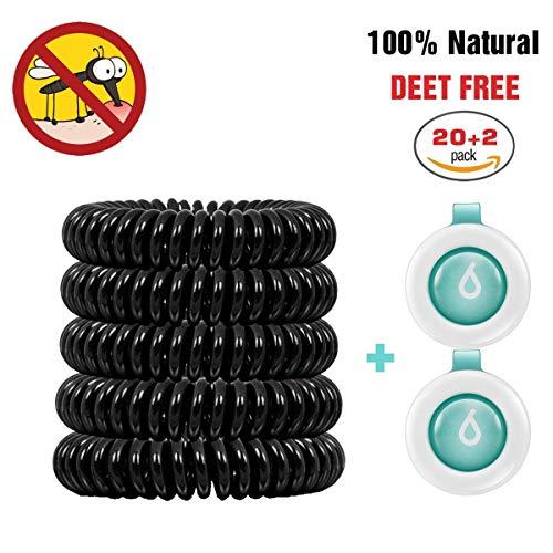 BINWO Mückenschutz, 20+2 Stück Anti Mücken Armband - Indoor Outdoor Insektenschutz Armband, DEET-freier und wasserfester Gegen Moskito Armband Insektenvernichter für Kinder & Erwachsene