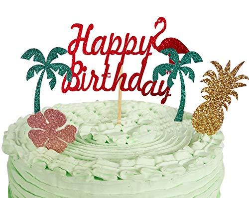 (Flamingos Happy Birthday Tortenaufsatz Geburtstag Twinkle DIY Glitzer 1. Geburtstag Cupcake Topper Cake Smash Candle Alternative Party Handarbeit)