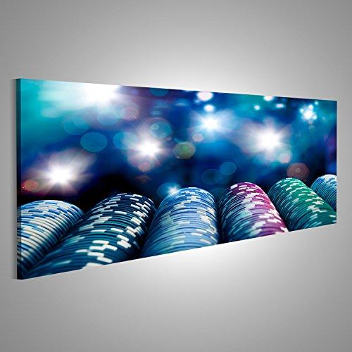 Bild Bilder auf Leinwand Poker Chips auf einem Spieltisch mit dramatischer Beleuchtung Verschiedene Formate ! Direkt vom Hersteller ! Bilder ! Wandbild Poster Leinwandbilder ! FTY