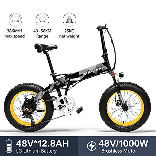 LANKELEISI X2000 20 x 4.0 Pulgadas Fat Tire 48V 1000W 12.8AH Fat Tire Marco de aleación de Aluminio Neumático Bicicleta eléctrica Plegable para Mujer/Hombre Adulto para montaña/Playa/Nieve (Amarillo)