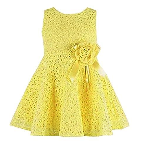 Tonsee Neue Sommer Kleider Babykleidung Mädchen Prinzessin Mädchen Weste Kleid Partei Kleider Kinderkleidung hohlen Partei Kostüm für 0-7 Jahre (0-1Y, Gelb)