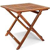 Deuba Tavolino Pieghevole in Legno di Acacia Oliato 70x70x73cm Tavolo in Legno Tavolino da caffè Tavolo da Giardino