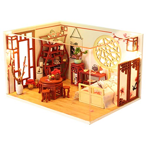 ToDIDAF Wooden Dollhouse 3D DIY Miniature House Furniture LED House Puzzle Educational Toy for Kid Birthday Valentine\'s Day for Bedroom Home Garden Decor - Retro Room