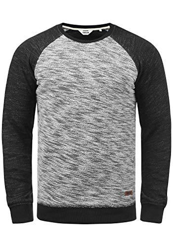 !Solid Flocker Herren Sweatshirt Pullover Flocksweat Pulli Mit Rundhalsausschnitt Aus 100% Baumwolle, Größe:L, Farbe:Black (9000)