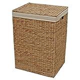 Geflochtener Aufbewahrungskorb, für Wäsche oder Spielzeug, Weide metall, natur, Medium - L 39 x W 30 x H 59 cm