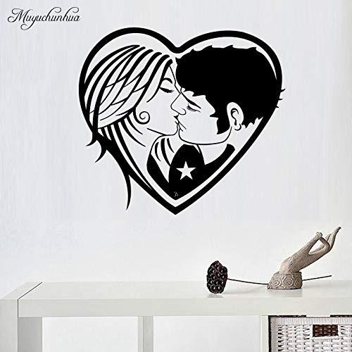 yiyiyaya Hochzeit Benutzerdefinierte Liebespaar Muster Wandaufkleber für Wohnkultur Wohnzimmer Vinyl Aufkleber Vinyl Decorativos para Wände 43X47 cm