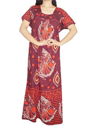 Indiatrendzs Women's Nightwear Maxi Night Dress Cotton Printed Maroon Night Gown Chest-48