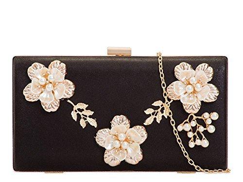 Haute für Diva S Damen NEU Perle Blumen Detail Kunstleder Hart kompakt verziert Party Portemonnaie Clutch Tasche - Champagner, Small Schwarz