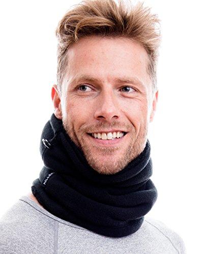 Hilltop Polar Multifunktionstuch / Mütze / Motorradmaske / Skimaske / Kälteschutz / Gesichtsmaske / Halswärmer/ Polar Halstuch mit Kordelzug 100 % Fleece (schwarz doppellagig mit Teddy Fleece)