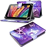 """Tech Protect 7"""" Inch Universal Tablet Executive PU Leather Protective Flip Wallet Stand Case With Fully Adjutable Angle for your BENEVE 7 inch Kids Tablet - Electric Butterfly"""