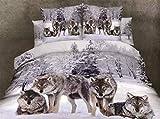 500TC 3D Oil Wolf Bedding Sets 4PC,(1PC ...