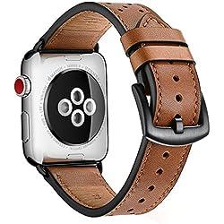 Zeiger Bracelet Cuir pour Apple Watch 42mm 44mm Marron Série 1 2 3 4 Compatible Cuir Véritable Style à Point Polka Noir Verrouillage Amélioré Remplacement Boucle Ardillon Acier Inoxydable