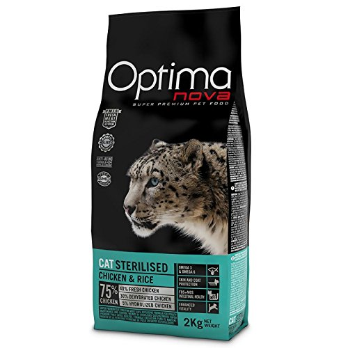 WANGADO 2 X 2 KG Cibo secco monoproteico per gatti sterilizzati da 1 anno, con prebiotici FOS & MOS, 75% di carne(40% fresca), L-carnitina e Omega.