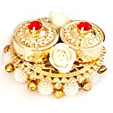 Curiocity Haldi Kumkum Box, Elegant, Handmade In Golden Metal, With Lids - Decorated With Flowers, Bells, Colored Crystals