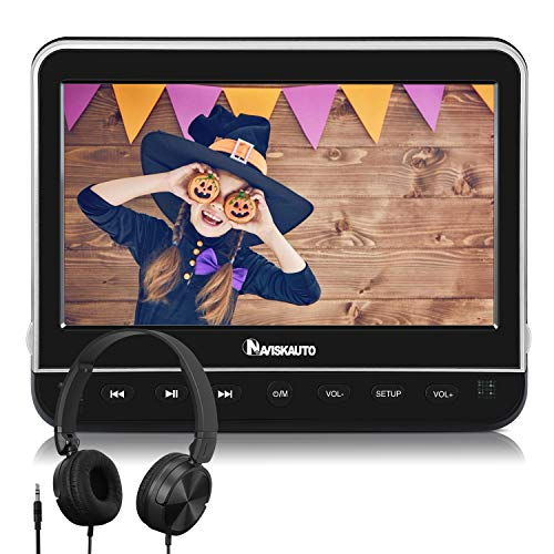 "NAVISKAUTO 10,1"" DVD Player für Auto Tragbarer DVD Player HDMI Eingang 1080P HD Bildschirm Kopfstütze Monitor Memory SD USB mit Kopfhörer 12V"