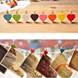 Mini Sweet Love Heart Shape Wooden Clips Message Photo Holder Card Paper Pegs Decor Photography Random Color(20 Pcs) by HuaYang