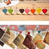 Mini Süße Liebe Herzform Holz Clips Nachricht Foto-Halter Kartenpapier Pegs Decor Fotografie zufällige Farbe (20 Stück)