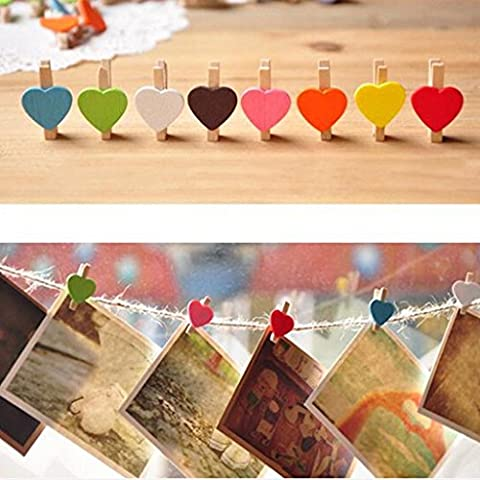 Mini Sweet Love Heart Shape Wooden Clips Message Photo Holder Card Paper Pegs Decor Photography Random Color(20