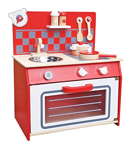 Deluxe Kids Girls Wooden Kitchen Toy Pretend Role Playset for Cooking with Baking Oven 45*26*51cm