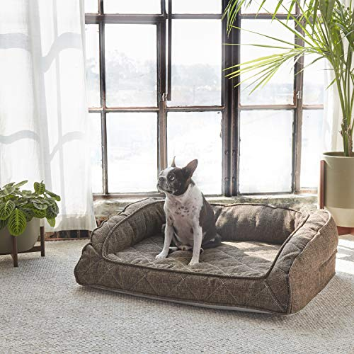 Brentwood Home Runyon Pet Bett mit Nackenrolle, orthopädische Gel Memory Schaum, Made in California, Mokka, Medium -