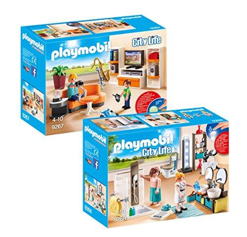 Playmobil Meubles Villa Moderne Set: 9267 Salon Équipé + 9268 Salle de Bain avec Douche à lItalienne