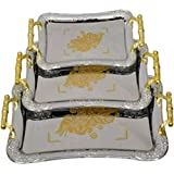 Sajani Premium Quality Golden Color Handle, Finish Metal Serving Tray/Platter For Multi-Purpose Use.(Set Of 3 Pcs)