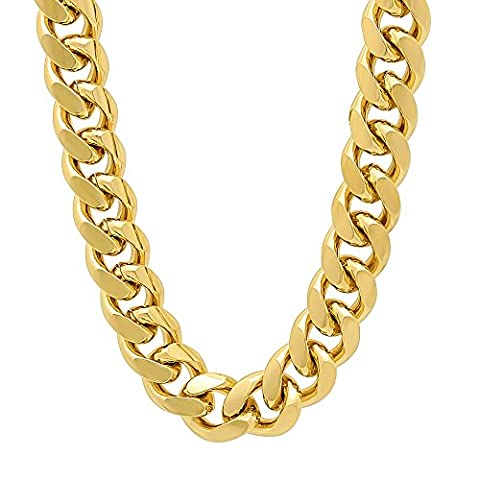 11mm 14k Gold Plated Miami Cuban Link Curb Chain Necklace, 60 cm