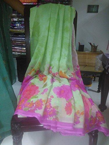 sree sarees green floral print chiffon saree
