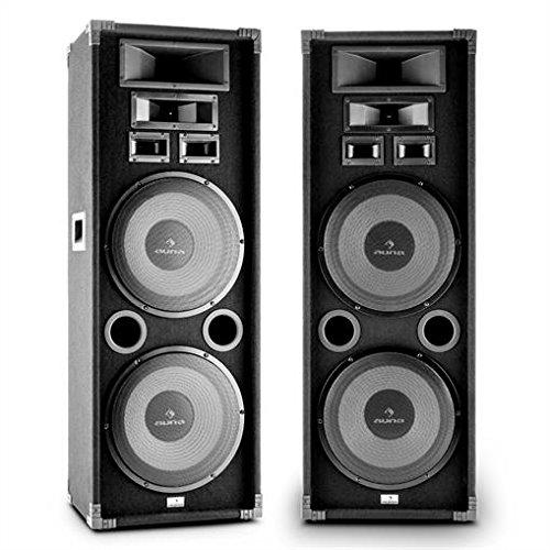 Auna PA-2200 PA Boxen Set Fullrange PA-Lautsprecher Paar (2000 Watt max, 3-Wege, je 2x 30cm Subwoofer, Bassreflex, Tragegriffe) schwarz