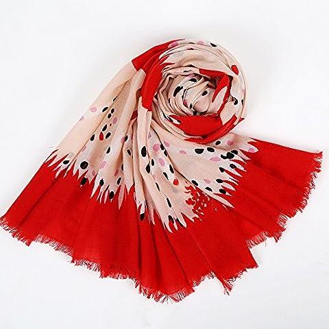 Pois Limone giraffa stampa scialle di lana pura , red