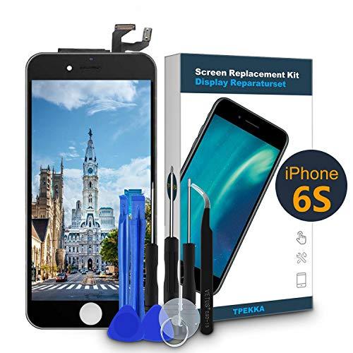 TPEKKA LCD Touchscreen für iPhone 6S Display Ersatz LCD Bildschirm-Front Komplettes Glas Panel Digitizer Display mit Reparatur Set Werkzeuge für iPhone 6S DIY Schwarz, 4.7 Zoll...