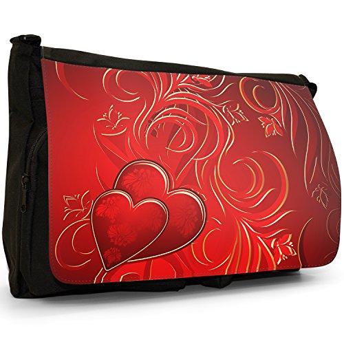 Nero cuori borsa scuola grande nero Angel Hearts Red Passion Hearts