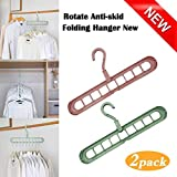 Unicron Multi-Function Storage Rack Magic Rotating Anti-Skid Folding Drying Rack Portable Hanging Household Wet and Dry Clothes Hanger Closet Hook Pack of 2