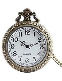Maybesky Reloj de Bolsillo Descubierto Bronce Creativo de la Vendimia con la Cadena para los Estudiantes Caja de Regalo para cumpleaños Aniversario día Nav
