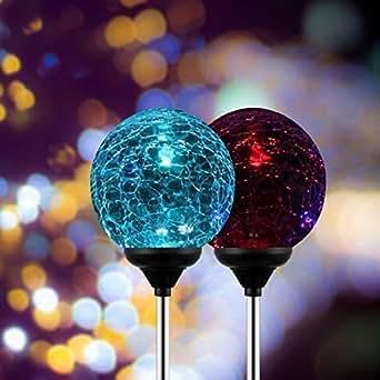 Esky® SL75 Luce Solare LED Sfera di Vetro Cambia-Colore per Giardino, Prato, Cortile, Patio