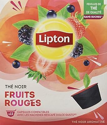 Lipton Thé Noir Fruits Rouges 12 Capsules Compatibles Nescafé Dolce Gusto 30 g - Pack de 4