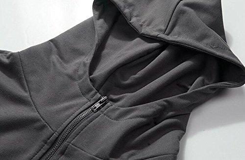 Manbozix Herren Kurzarm Pullover Hoodie Kapuzenpullover Unisex Kaputzenpulli Polo Shirt Grau