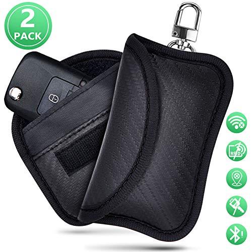 Keyless Go Schutz Autoschlüssel Hülle 2 STK Mini RFID Funkschlüssel Abschirmung Schlüsseltasche Schlüsseletui Schlüsselmäppchen Car Key Safe (Schwarz)
