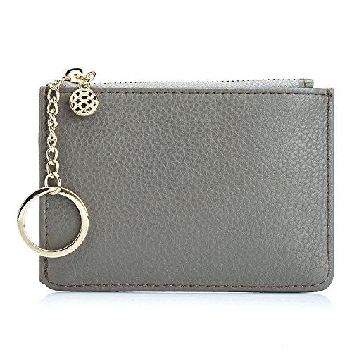 Mefly Neue Null Leder Geldbörse Schlüssel Tasche Kurze gray