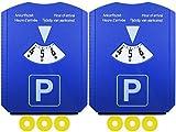 com-four® 2 Dischi di parcheggio con Raschietto per Ghiaccio, Bordo in Gomma, Disco di parcheggio e Chip del Carrello (02 Pezzi - Disco di parcheggio con Chip)