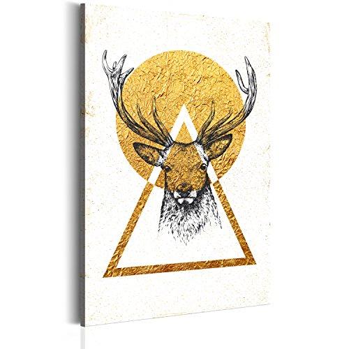 RIESEN-FORMAT Bilder 80x120 cm - XXL Format - Fertig Aufgespannt - TOP - Vlies Leinwand - 1 Teilig - Wand Bild - Kunstdruck - Wandbild - Poster Teire Hirsch Geometrie g-C-0012-b-a 80x120 cm